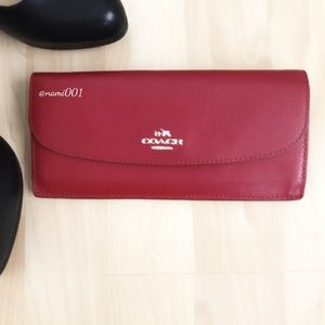 Coach Slim Red Leather Envelope Wallet EUC